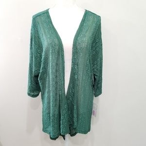 New LuLaRoe Lindsay Size Medium Green Lace Kimono